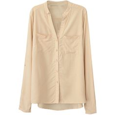Womens Plain V Neck Single-breasted Long Sleeve Blouse Beige White ($16) ❤ liked on Polyvore featuring tops, blouses, blusas, shirts, white long sleeve top, v-neck shirt, beige shirt, shirt blouse and white shirt