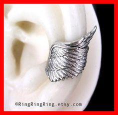 925 Archangel wing solid Sterling silver ear cuff door RingRingRing