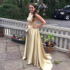 gold beaded long charming formal 2018 prom dress, PD1264 #fashion#promdress#eveningdress#promgowns#cocktaildress