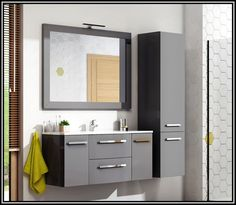 Mobilier baie suspendat Wave 120 cm, culoare gri mat Bathroom Lighting, Vanity, Mirror, Furniture, Home Decor, Bathroom Light Fittings, Dressing Tables, Bathroom Vanity Lighting, Powder Room
