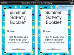 Summer Safety Booklet and Follow Up Activity. A perfect activity for your end of the school year. Cute pictures and kid friendly vocabulary to help kids remember safety tips. Topics included are sun and heat safety, bike and scooter safety, pool and beach safety, boat safety, firework safety, traveling tips, and camping and insect safety.