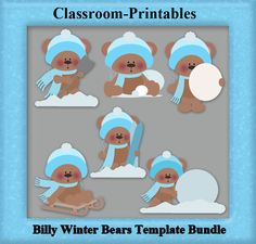 Clipart Templates for Scrapbooking.    Billy Winter Clipart Template Bundle. For Digital Scrapbooking, Clipart, Creating Cards  Printables.    Comes PSD Format  For Use in Photoshop and Graphics Programs