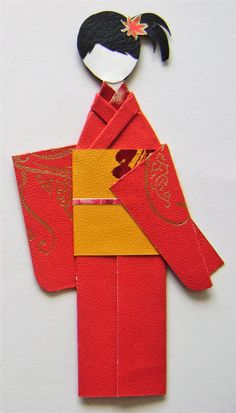 Red & Yellow Autumn Leaves Japanese Origami Kimono Doll Bookmark. Asian Oriental. Birthday Gifts. Handmade OOAK by NightLightCrafts on Etsy