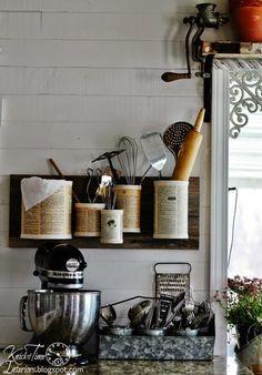 DIY Easy Rustic Tin Can Organizers, Kitchen Storage, Organization, Cookware, DIY