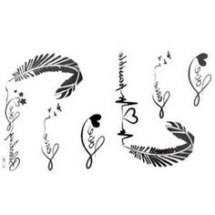 The New release tattoo stickers waterproof female black and white letters of the alphabet ECG feather fake tattoos