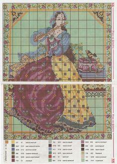 0 point de croix femme moyen_age jouant de la flute - cross stitch medieval lady playing flute