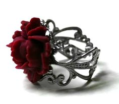 Red Rose Ring with Silver Adjustable Ring Base by robinhoodcouture, $18.00