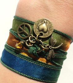 Peace Love Silk Wrap Bracelet Yoga Jewelry Bohemian Hippie Dragonfly Fall Unique Gift For Her Under 50 Item J39. $25.95, via Etsy.