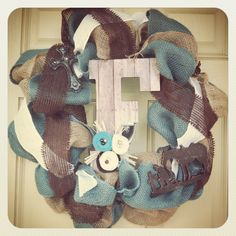Blue and brown burlap wreath