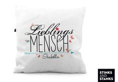 """Kissen """"Lieblingsmensch"""" mit personalisierbarem Namen, süße Geschenkidee für Verliebte / romantic gift idea: cushion """"favorite person"""" with name by you choice made by Stinksandstanks via DaWanda.com"""