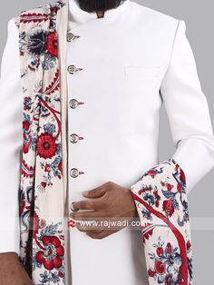 Aesthetic White color Jute silk Indo Western sherwani having Fancy buttons is an extraordinary creation. Comes with Maroon color churidar. Luxurious sherwani is specially created for your personality. Fancy Buttons, Indian Groom, Sherwani, Maroon Color, Churidar, Designer Wear, Jute, Floral Tie, Velvet