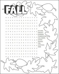 Fall word search | Kiddo Shelter