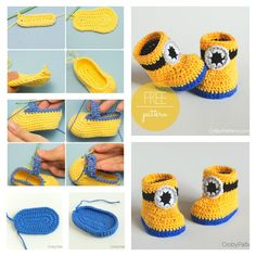 We love Minions and if you do too, these adorable Crochet Minion Baby Booties will be top of your list when it comes to your next project. These lovely boo Crochet Patterns Booties Minion Crochet Booties with Free Pattern 1 How about a pair of beautiful c Minion Crochet Patterns, Minion Pattern, Crochet Pattern Free, Baby Booties Free Pattern, Baby Patterns, Crochet Minions, Crochet Baby Shoes, Crochet For Boys, Newborn Crochet