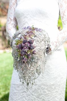 Ruby Blooms is pleased to offer you the Luxury, Signature Collection - Cascading Crystal Silver White Wedding Brooch Bouquet Designed for Silver White Weddings, Bridal Flowers and Special Events! Casc