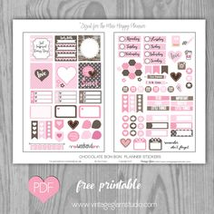 "Hello everybody!  Today is one day before Valentine's Day , so I will be wishing you a ""happy"" holiday today.  Today, I am releasing another  ""freebie"" printable that I designed with ""planner stickers""  with a Valentine's Day theme that will fit the  Mini Happy Planner. I also included an extra freebie below, my treat to you…a … Continue reading Mini Happy Planner – Chocolate Bon Bon Planner Stickers →"