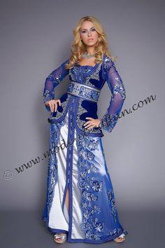 caftan nubira, velours bleu et dentelle
