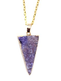 Handcrafted druzy pendent gold plated measuring between 4cm-4.5cm with a 20inch chain. Due to the nature of natural stones, Druzys shape & color vary. No 2 stones look alike. Comes wrapped in a box. I