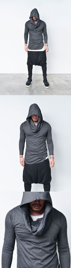 Tops :: Tees :: Avant-garde Volume Big Shirring Hood-Tee 607 - Mens Fashion Clothing For An Attractive Guy Look ~Don't Forget to Follow V.C.~