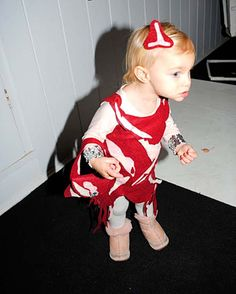 """The costume ideas are cute but I really pinned it because of the """"meat dress"""" on Toddler Gaga."""