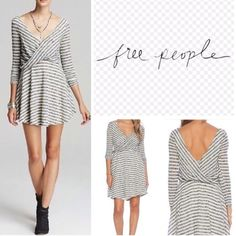 NWT, Free People, off the shoulder dress New with tags, Free People, off the shoulder dress! Size:M                                                White/gray stripped, sweater like material! Will sell for less on mercariapp! Free People Dresses Midi