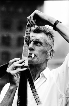 "Samuel Beckett on the set of his movie ""Film,"" 1964. Photograph by Steve Schapiro."