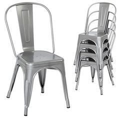 Best Choice Products Set of 4 Stacking Metal Industrial Style Dining Chairs Silver ** Find out more about the great product at the image link.