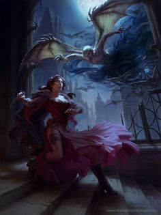 ImagineFX 96 Workshop - Fantasy digital paint by Anna Stein Bauer. The painting shows a woman being attacked by a ghoul like creature In an almost medieval midnight setting.