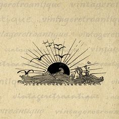 Digital Image Ocean Sunset Waves and Birds Download Setting Sun Printable Graphic Antique Clip Art for Transfers HQ 300dpi No.3068