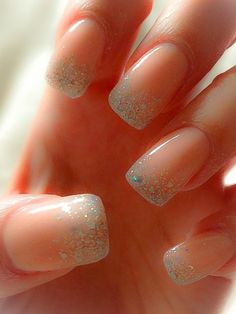 Coloured Acrylic & Glitter Acrylic nail art design