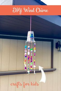 kids crafts for girls diy DIY Beaded Wind Chime The Inspired Home These simple beaded wind chimes make a great craft for kids of any age, both boys and girls using dollar store items. Spring Crafts For Kids, Crafts For Girls, Diy For Kids, Simple Kids Crafts, Simple Diy, Camping Crafts For Kids, Summer Camp Crafts, Kids Outdoor Crafts, Simple Craft Ideas