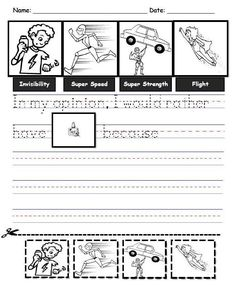 Opinion writing in kindergarten. Which super power would you like to have for a day? Why? K.W.1 Free printable!