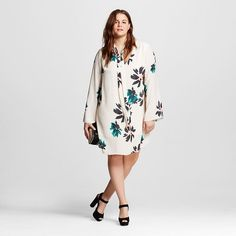 576c0f7e7c3fc Women s Plus Size Tie Neck Dress Shell Floral 3X - Who What Wear™   Target