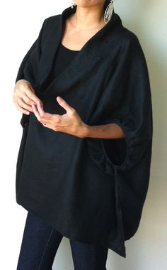 Black linen smock frock / top Plus size and by MuguetMilan on Etsy, $180.00