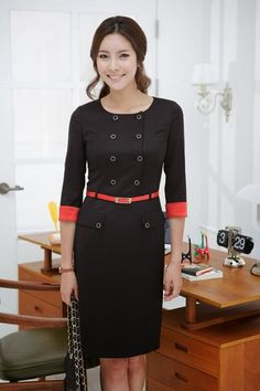 Spring&Autumn Korean women office dress 2014 new women OL workwear Double-breasted buttons dress with belt Wholesale 8236 > Nice plus size clothing shop for everybody Business Casual Dresses, Office Dresses, Business Attire, Dresses For Work, Short Dresses, Office Outfits, Women's Dresses, Work Outfits, Work Attire Women