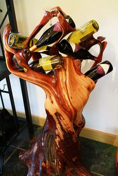 You could have your very own wine tree! Winery Tasting Room, Wine Tasting, Wine Bottle Holders, Wine Bottle Crafts, Cool Wine Racks, Wine Cabinets, Log Furniture, In Vino Veritas, Wood Creations