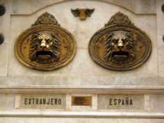 Edificio de Correos, buzones  ~ Mailboxes at the Main Post Office in Valencia (labeled:  Foreign Countries & Spain)