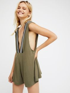 Kickin' It Romper | So comfy romper featuring a low plunging neckline with stripe details.    * Hidden side pockets.