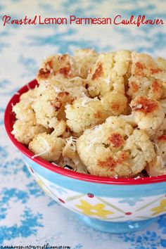 Roasted Lemon Parmesan Cauliflower #sidedishes