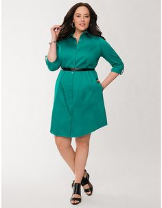 Plus Size Sateen Shirt Dress by Lane Bryant | Lane Bryant