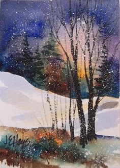Watercolor Painting Winter Twilight Snow