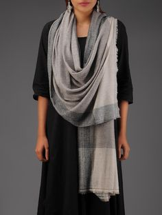 Buy Grey Beige Nepalese Cashmere Stole Accessories Scarves & Stoles Valley Warmth Fine Shawls from Nepal Online at Jaypore.com
