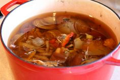 Easy Homemade Vegetable Broth using scraps you'll otherwise throw away! | vegetarian recipes | soup recipes | vegan recipes | perrysplate.com