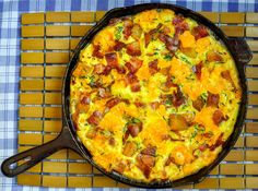 Potato Bacon Cheddar Frittata. This delicious frittata is an ideal, easy brunch idea. This recipe uses potatoes but leftover cooked pasta works too.