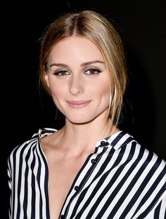 Love Olivia Palermo's easy pulled-back hair, shiny nude lips, and glittery eye shadow for summer nights out