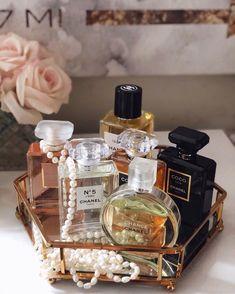 "Paris, Prada, Pearls, Perfume — bergdorfprincess: ""No elegance is possible. Perfume Display, Perfume Tray, Perfume Scents, Perfume Bottles, Fragrance, Bandeja Perfume, Perfume Organization, Perfume Storage, Perfume Chanel"