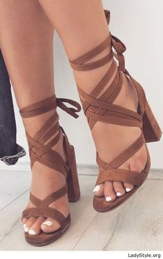 Wonderful brown velvet sandals - LadyStyle Boots. Pumps. Flats. I want them all. Shoes, heels, flats, boots, over the knee boots, street style, shoe close ups, trendy shoes, pumps, sandals, wedges, platforms.