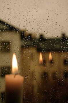 rainy day and candlelight for the soul of sad delight ~ morose blissfully moody beautiful darkness I Love Rain, No Rain, Rain Fall, Sound Of Rain, Singing In The Rain, Rainy Night, Rainy Days, Rainy Mood, Rainy Sunday