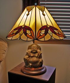 Stained Glass Lampshade with Buddha Base, by Jannie Ledard Glass Art