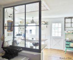 Repurposed Window Farmhouse Kitchen - www.KnickofTime.net