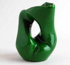Green Vintage Bud Vase, Emerald Porcelain Twisted Sculptural Mid-Century Pottery.